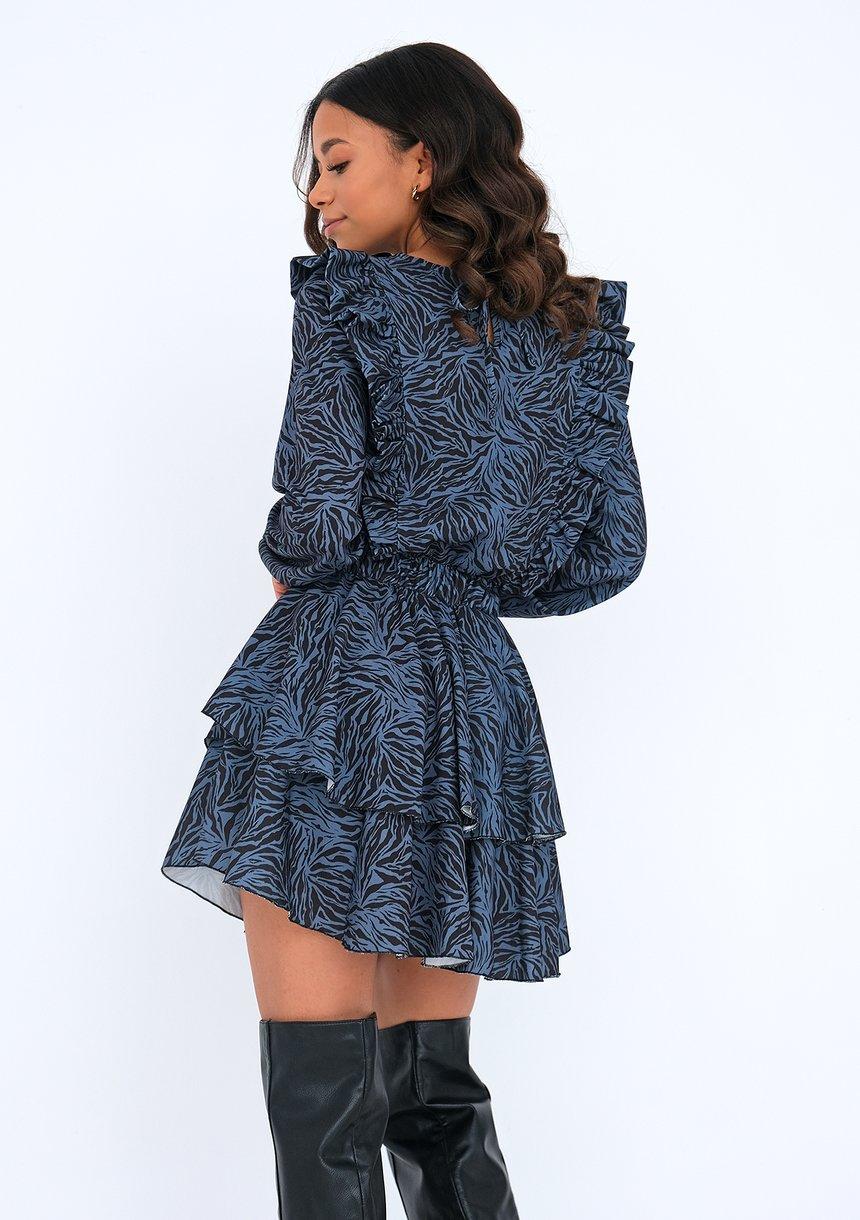 Sukienka z falbankami print Niebieska