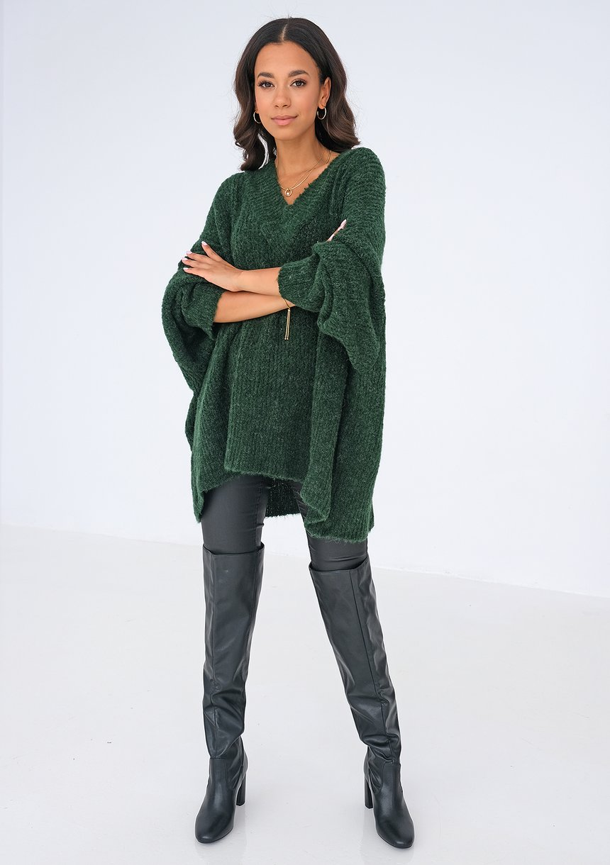 Sweter z dekoltem V oversize ZIELONY ILM