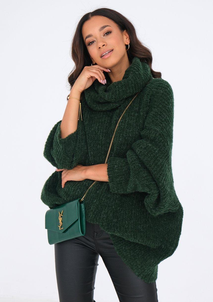 Sweter z golfem oversize ZIELONY ILM