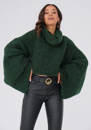 Green turtleneck sweater with loose sleeves ILM
