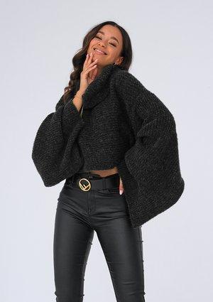 Black turtleneck sweater with loose sleeves ILM