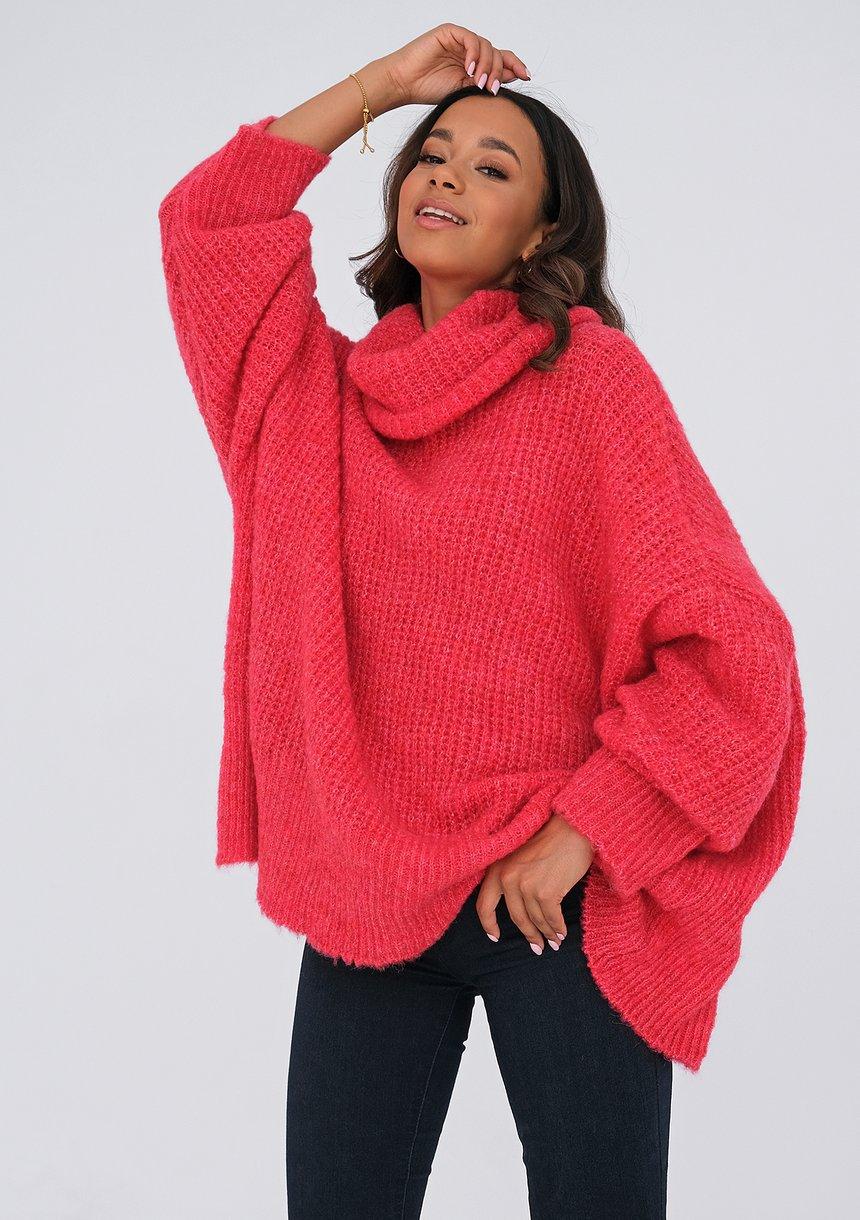 Sweter z golfem oversize MALINOWY ILM