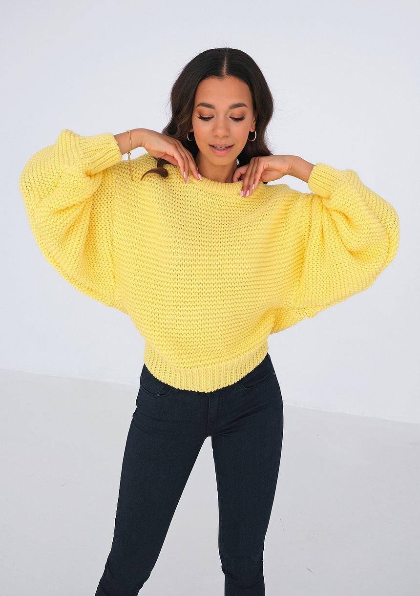 Sweter o grubym splocie Yellow ILM