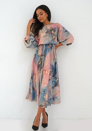 Satynowa sukienka midi Pink Marble