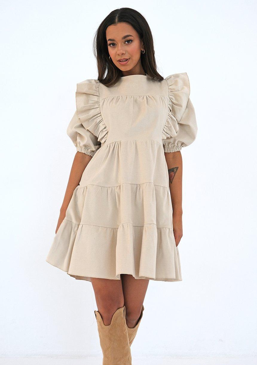 Sztruksowa sukienka z falbankami Beżowa