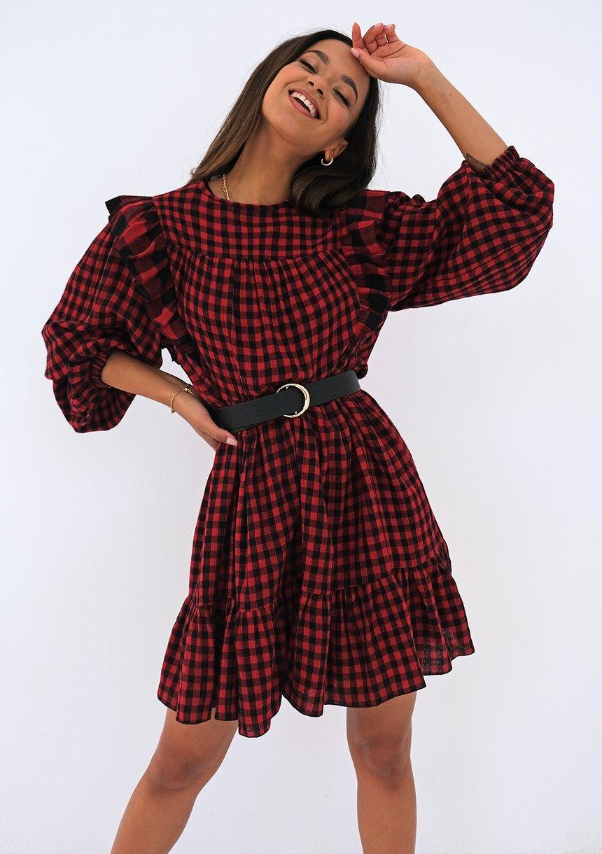 Bawełniana sukienka w kratkę Czerwona