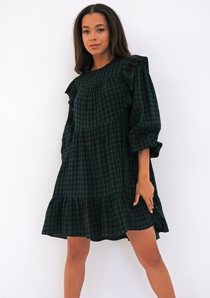 Mini checked green cotton dress with frills