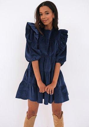 Mini navy blue curduroy dress with frills