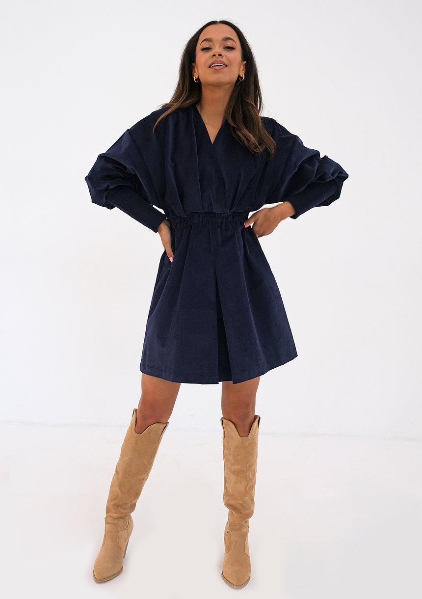 Sukienka ze sztruksu Granatowa