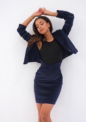 Mini navy blue curduroy skirt