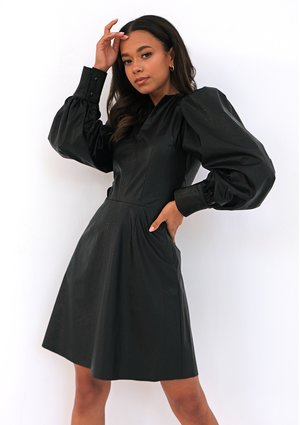 Black eco leather dress