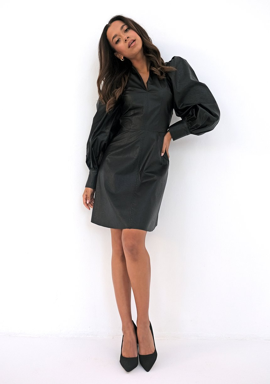 Sukienka z eko skóry Czarna
