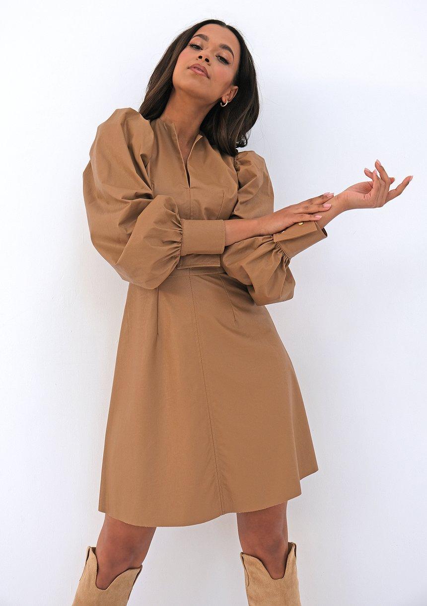 Sukienka z eko skóry Beżowa