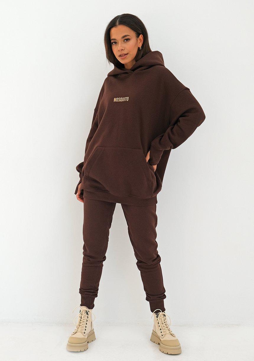 Bluza z kapturem oversize Dark Brown