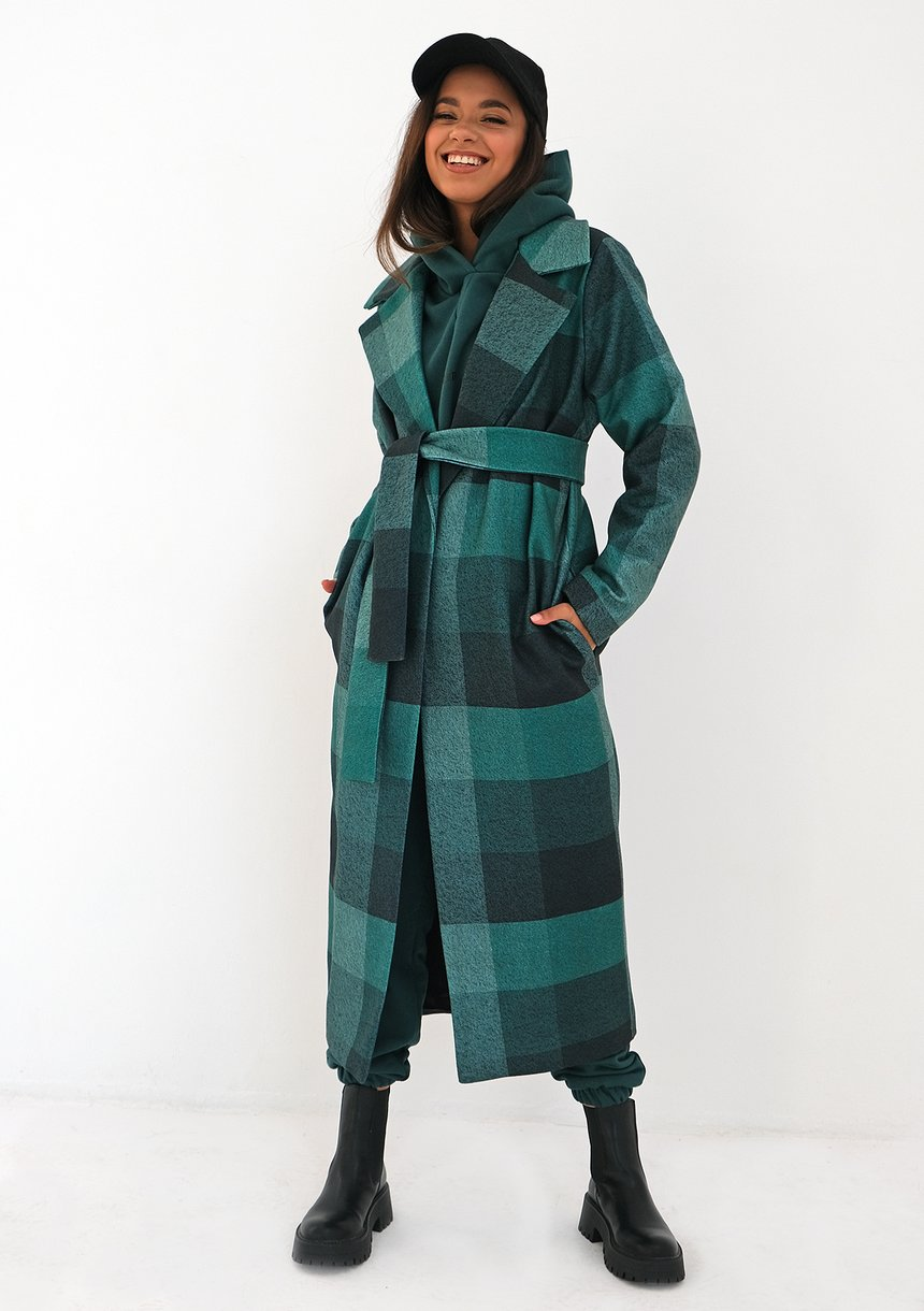 Płaszcz z flauszu w kratę Zielony