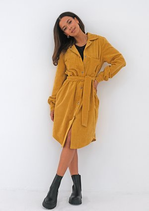 Mustard yellow curduroy shirt dress