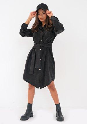 Charcoal grey curduroy shirt dress