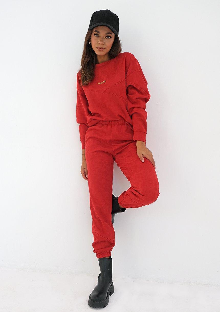 Spodnie jogger z imitacji zamszu Czerwone