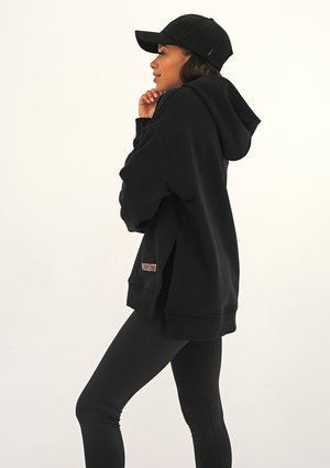 Oversize black hoodie with a logo