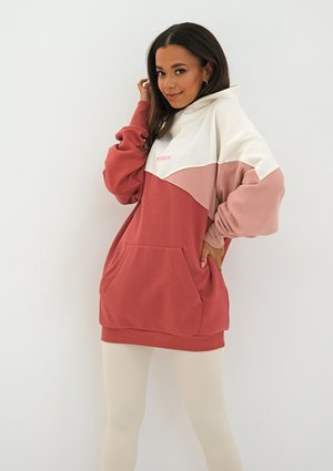 Oversize tricolor hoodie Dusty Rose