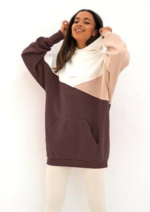 Oversize tricolor hoodie Dark Brown