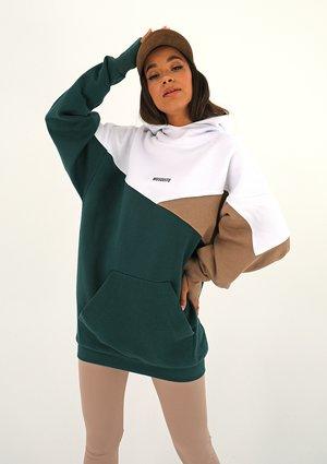 Oversize tricolor hoodie Deep Green