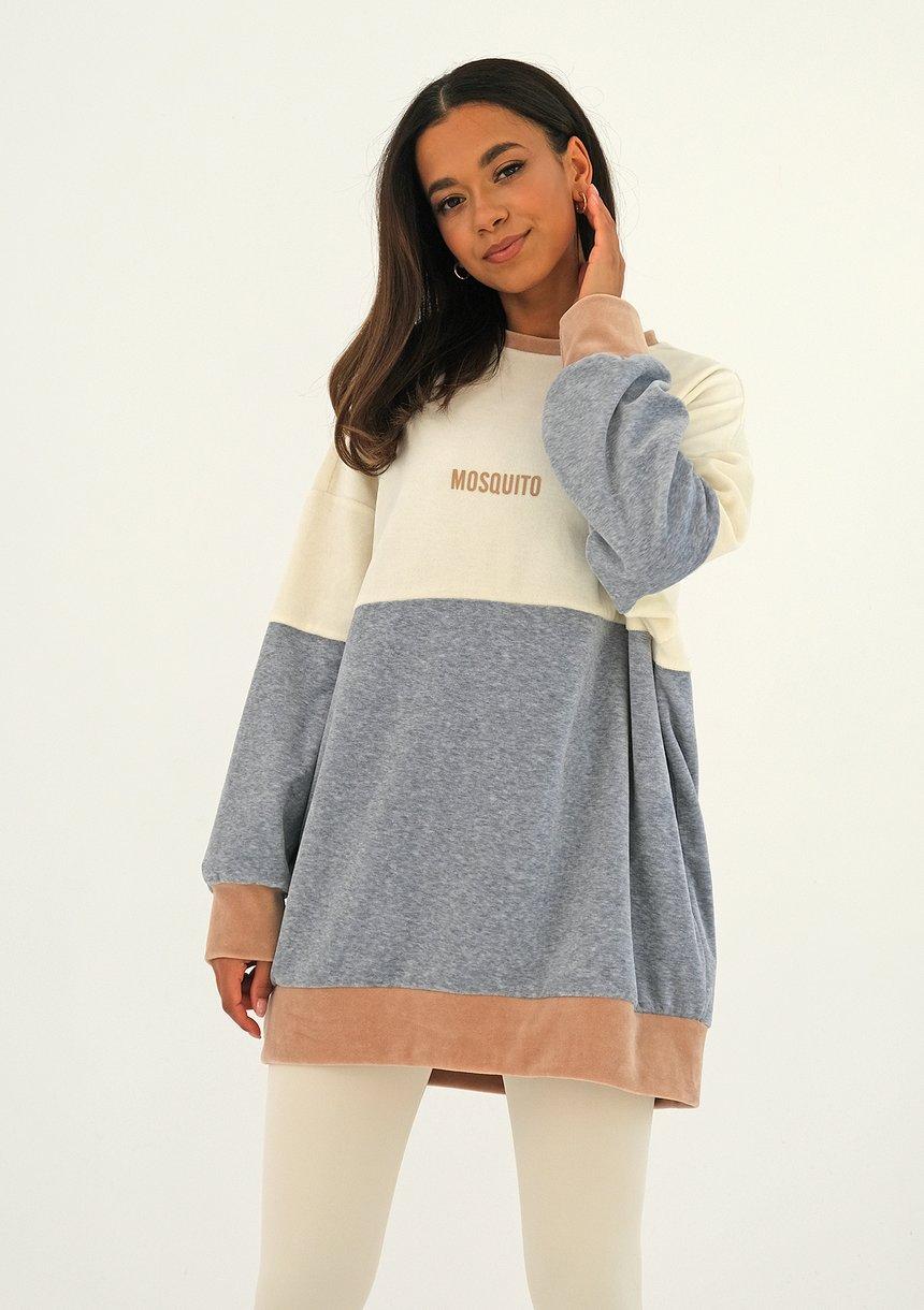 Welurowa bluza trójkolorowa Melange ILM