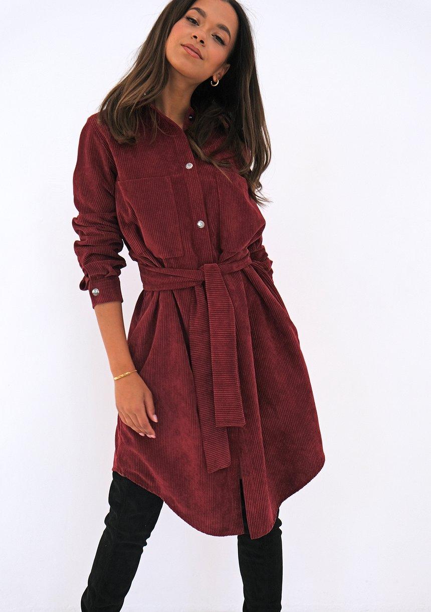 Sukienka koszulowa ze sztruksu Bordowa