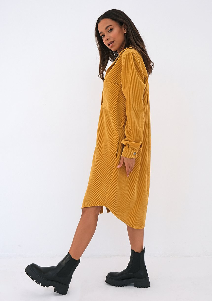 Sukienka koszulowa ze sztruksu Musztardowa
