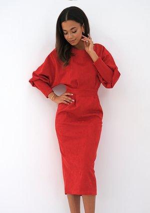 Midi red eco suede dress