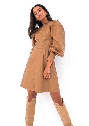 Beige eco leather dress
