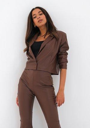 Brown eco leather blazer