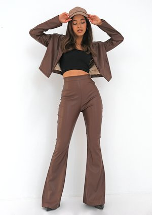 Brown eco leather flared trousers