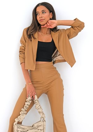 Beige eco leather blazer