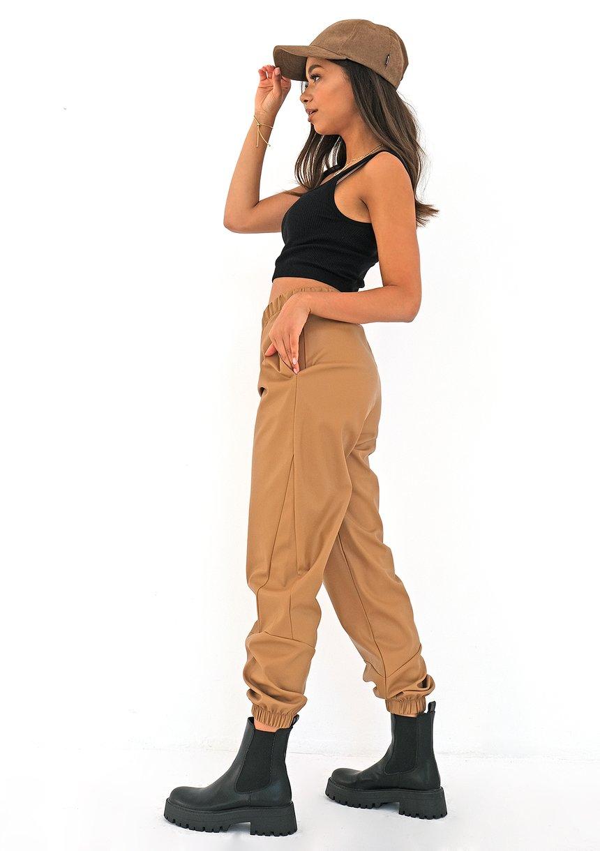 Spodnie joggery z eko skóry Beżowe