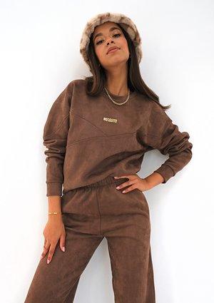 Brown eco suede sweatshirt