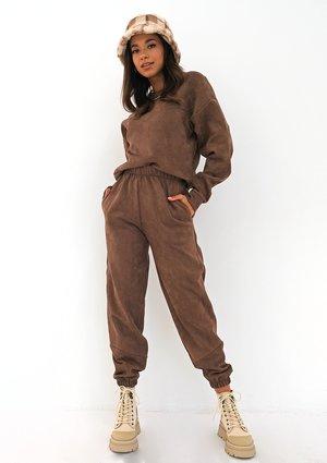 Brown eco suede sweatpants