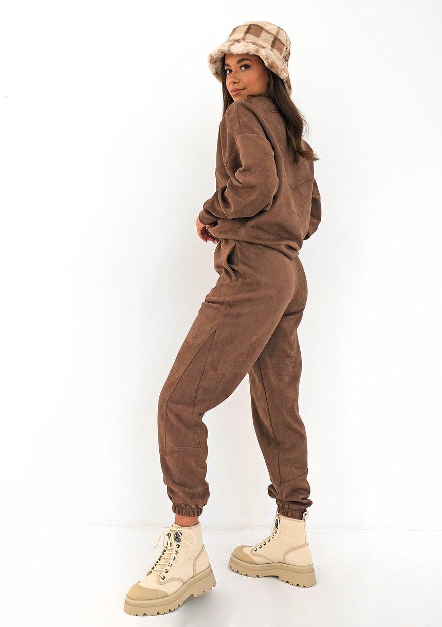 Spodnie dresowe z eko zamszu Brązowe