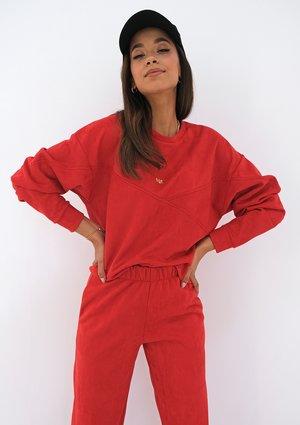 Red eco suede sweatshirt