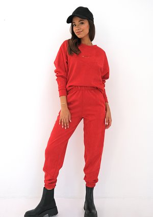 Red eco suede sweatpants