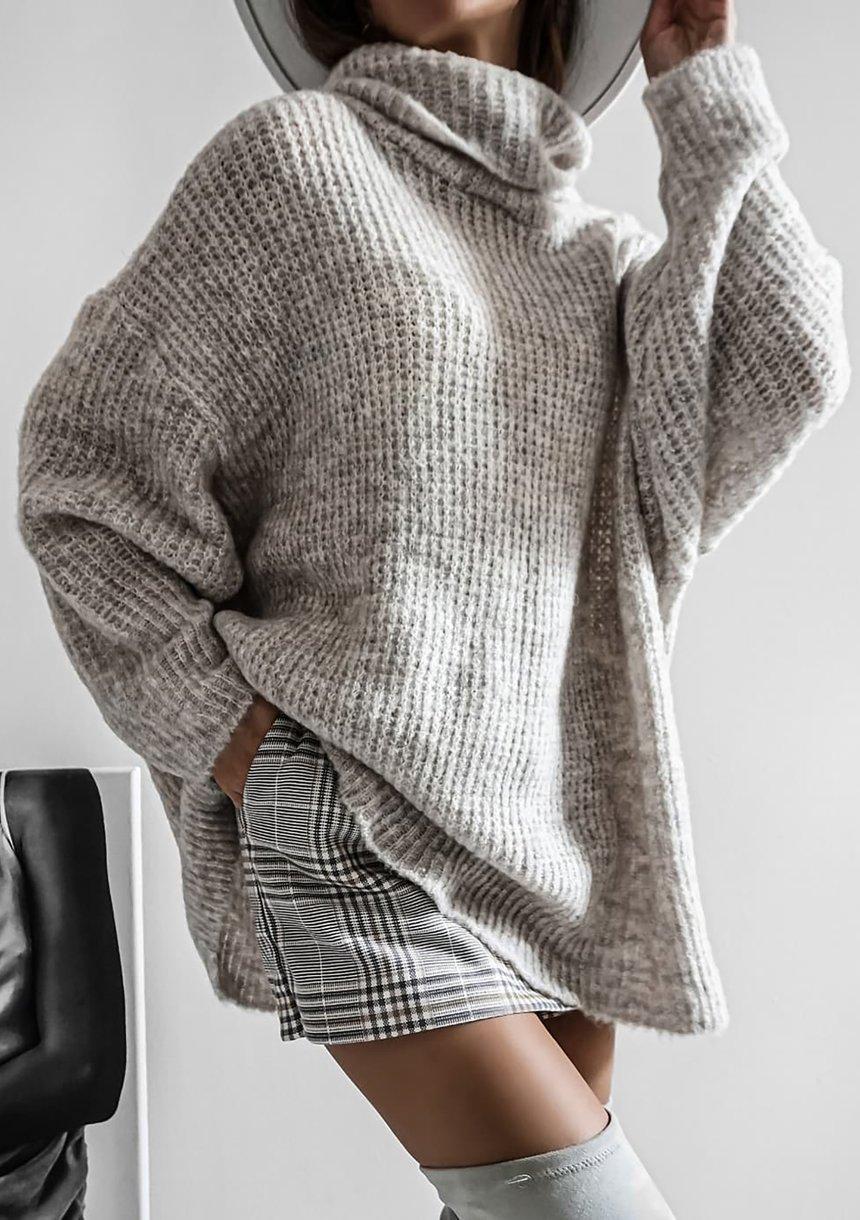 Sweter z golfem oversize A007 Szary ILM