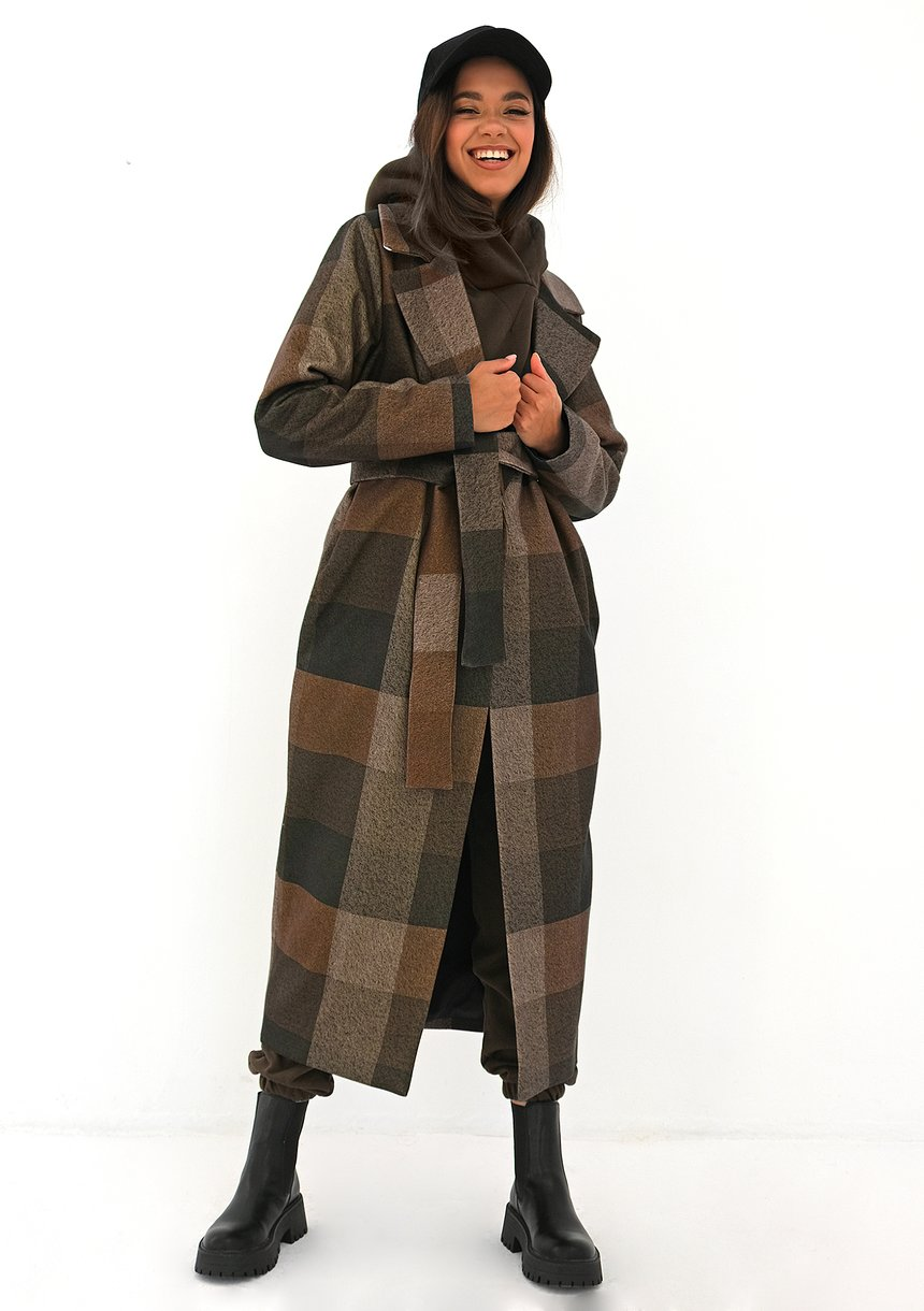 Płaszcz z flauszu w kratę Brązowy