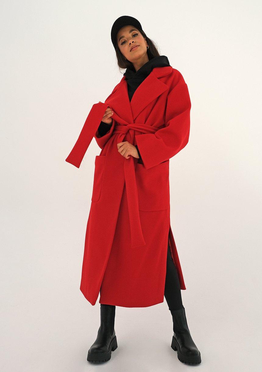 Płaszcz wiązany w talii Czerwony