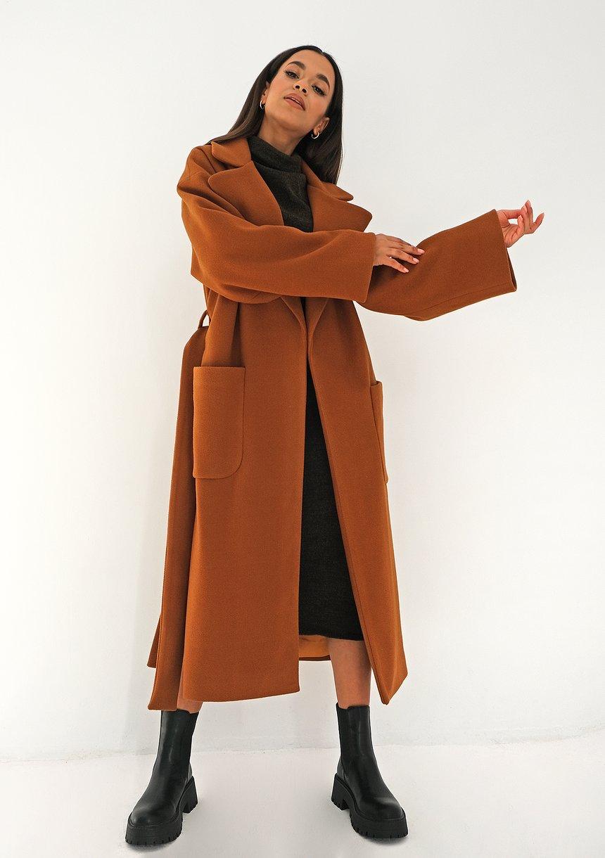 Płaszcz wiązany w talii Karmelowy