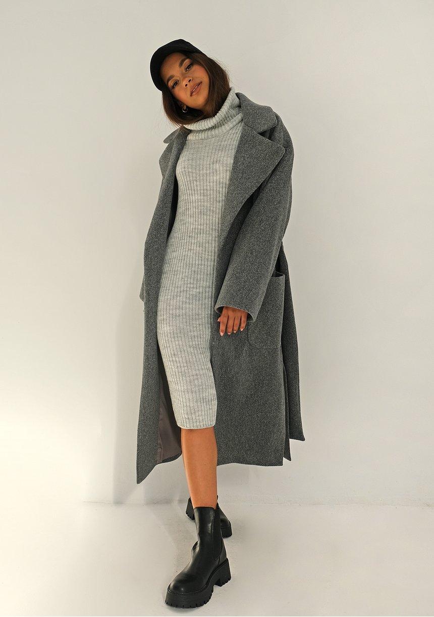 Płaszcz wiązany w talii Szary