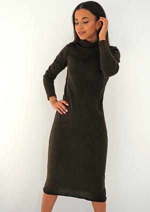 Swetrowa sukienka midi Brązowa ILM