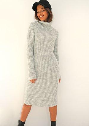 Midi grey knitted turtleneck dress