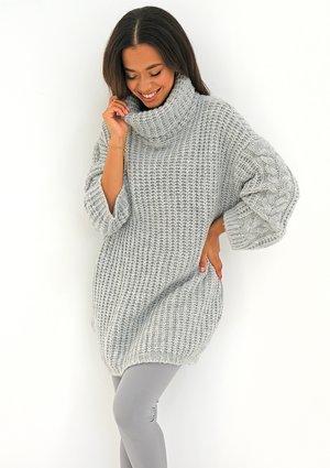 Loose turtleneck grey plaited sweater