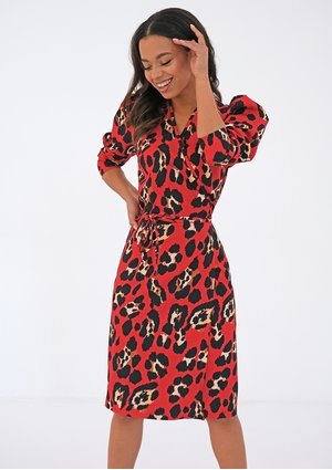 Midi red wrap dress with a leopard print