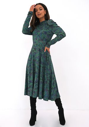 Green printed soft dress